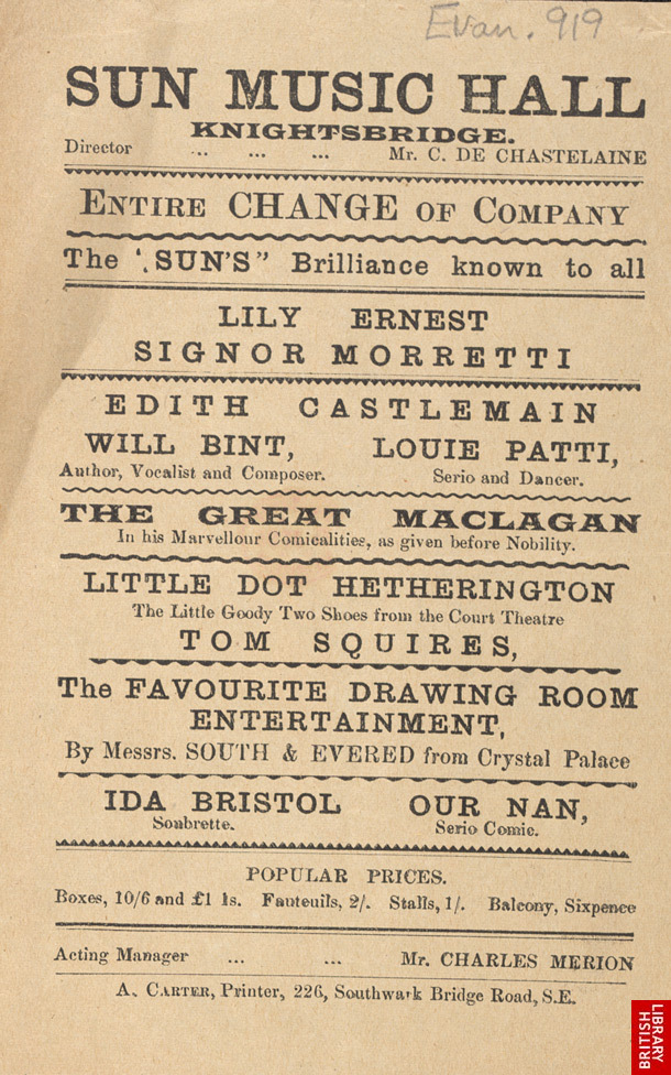 Advert for the Sun Music Hall 919
